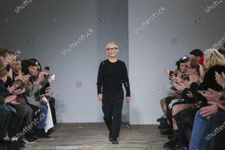 Moon Young Hee on the catwalk at the MOONYOUNGHEE Fashion show in Paris, Fall Winter 2020, Ready to Wear Fashion Week