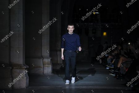Stock Image of Julien Dossena on the catwalk of the Paco Rabanne Fashion show in Paris, Fall Winter 2020, Ready to Wear Fashion Week