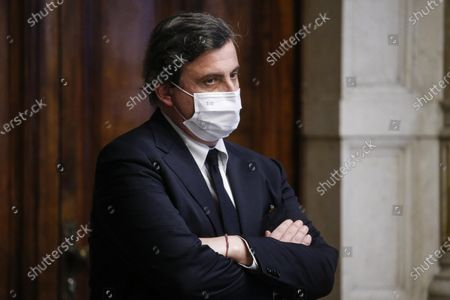 Carlo Calenda, member of 'Azione' during a press conference after meeting with designated-prime minister Mario Draghi, for the formation of a new government in Rome, Italy, 04 February 2021. Draghi accepted on 03 February a mandate from the Italian president to form a national unity government after the previous coalition collapsed.