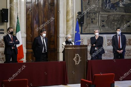 (L-R) Matteo Richetti, Carlo Calenda, Emma Bonino, Benedetto Della Vedova and Riccardo Magi during a press conference after meeting with designated-prime minister Mario Draghi, for the formation of a new government in Rome, Italy, 04 February 2021. Draghi accepted on 03 February a mandate from the Italian president to form a national unity government after the previous coalition collapsed.
