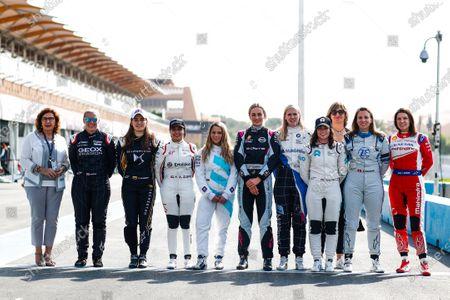 RIYADH STREET CIRCUIT, SAUDI ARABIA - DECEMBER 16: Driver line up for the test in Ad Diriyah with Pippa Mann (GBR), GEOX Dragon, Tatiana Calderon (COL), DS TECHEETAH, Amna Al Qubaisi (UAE), Envision Virgin Racing, Carrie Schreiner (DUE), HWA Racelab, Carmen Jorda (ESP),Nissan e.Dams, Beitske Visser (NLD), BMW I Andretti Motorsports, Jamie Chadwick (GBR), NIO Formula E Team, Simona de Silvestro (CHE), Venturi Formula E and Katherine Legge (GBR), Mahindra Racing during the Ad Diriyah E-prix at Riyadh Street Circuit on December 16, 2018 in Riyadh Street Circuit, Saudi Arabia. (Photo by Sam Bloxham / LAT Images)