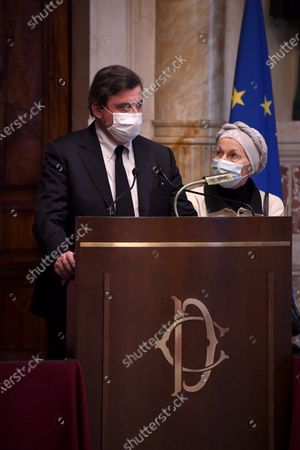 Carlo Calenda member of Azione, Emma Bonino member of + Europa during a press conference after meeting with designated-prime minister Mario Draghi for the formation of a new government