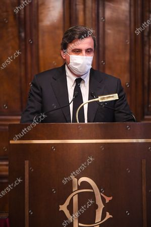 Carlo Calenda member of Azione during a press conference after meeting with designated-prime minister Mario Draghi for the formation of a new government