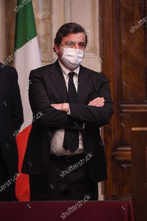 Carlo Calenda member of Azione, during a press conference after meeting with designated-prime minister Mario Draghi for the formation of a new government