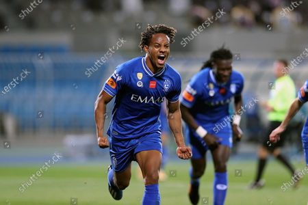 Al-Hilal's player Andre Carrillo celebrates after scoring a goal during the Saudi Professional League soccer match between Al-Hilal and Abha at Prince Faisal Bin Fahd Stadium, in Riyadh, Saudi Arabia, 04 February 2021.