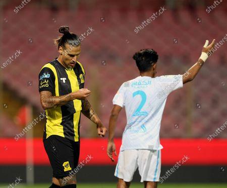 Al-Ittihad's player Aleksandar Prijovic (L) celebrates after scoring a goal during the Saudi Professional League soccer match between Al-Ittihad and Al-Fateh at King Abdulaziz Stadium, in Mecca, Saudi Arabia, 04 February 2021.