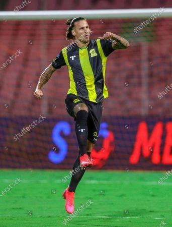 Al-Ittihad's player Aleksandar Prijovic celebrates after scoring a goal during the Saudi Professional League soccer match between Al-Ittihad and Al-Fateh at King Abdulaziz Stadium, in Mecca, Saudi Arabia, 04 February 2021.