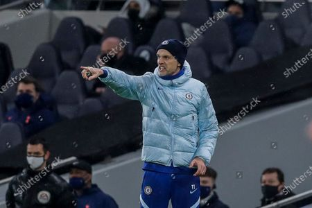 Stock Image of Chelsea's head coach Frank Lampard gestures during the English Premier League soccer match between Tottenham and Chelsea at the Tottenham Hotspur Stadium in London, England