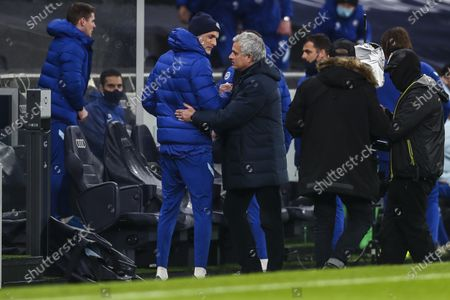 Stock Photo of Tottenham's manager Jose Mourinho shakes hands with Chelsea's head coach Frank Lampard, left, during the English Premier League soccer match between Tottenham and Chelsea at the Tottenham Hotspur Stadium in London, England
