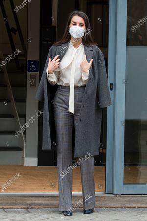 Queen Letizia Ortiz at the AECC headquarters in Madrid