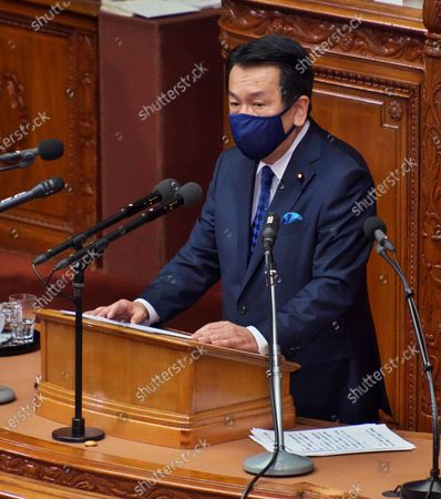 Leader of the opposition Constitutional Democratic Party of Japan, Edano Yukio questions to Japan's Prime Minister Yoshihide Suga's policy speech during a Lower House's plenary session at the National Diet in Tokyo, Japan.