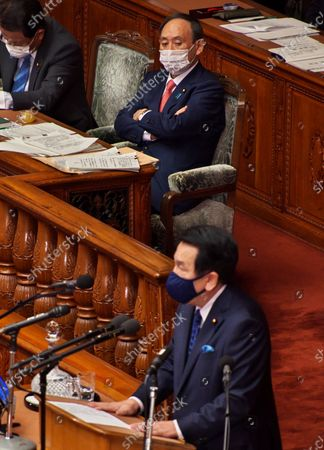 Stock Photo of Leader of the opposition Constitutional Democratic Party of Japan, Edano Yukio questions to Japan's Prime Minister Yoshihide Suga's policy speech during a Lower House's plenary session at the National Diet in Tokyo, Japan.