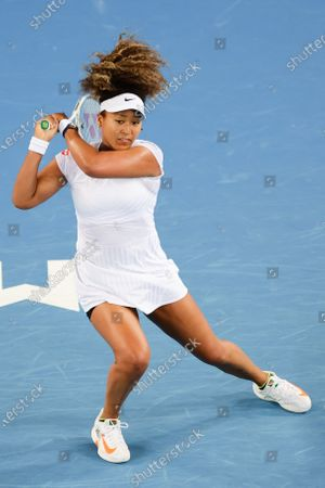 2nd seed Naomi OSAKA of Japan in action against Irina-Camelia BEGU of Romania in a quarter final match of the Gippsland Trophy tournament on Margaret Court Arena, in Melbourne, Australia. Osaka won 75 61