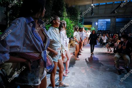 Stock Image of Veronica Etro on the catwalk at the Etro Fashion show in Milan, Spring Summer 2021, Ready to Wear Fashion Week