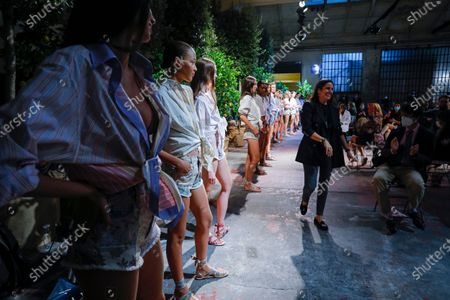 Veronica Etro on the catwalk at the Etro Fashion show in Milan, Spring Summer 2021, Ready to Wear Fashion Week
