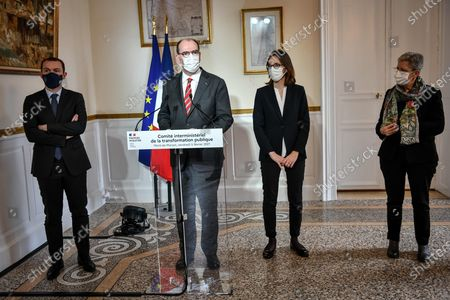 French prime minister Jean Castex delivers a speech next to French Minister for Transformation and Public Services Amelie de Montchalin, French Junior Minister of Public Action and Accounts Olivier Dussopt and French Junior Minister of Remembrance and Veterans Affairs Genevieve Darrieussecq