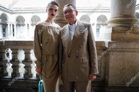 Stock Picture of Felice Nova Noordhoff and Ian Griffiths in the backstage of the the Max Mara Fashion show in Milan, Spring Summer 2021, Ready to Wear Fashion Week