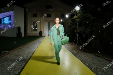 Model on the catwalk at the Salvatore Ferragamo Fashion show in Milan, Spring Summer 2021, Ready to Wear Fashion WeekCollection designed by Paul Andrew and Guillaume Meilland