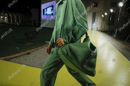 Models on the catwalk, bag detail, at the Salvatore Ferragamo Fashion show in Milan, Spring Summer 2021, Ready to Wear Fashion WeekCollection designed by Paul Andrew and Guillaume Meilland