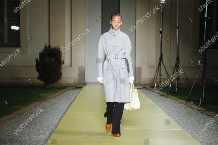 Stock Image of Model on the catwalk at the Salvatore Ferragamo Fashion show in Milan, Spring Summer 2021, Ready to Wear Fashion Week