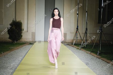Stock Picture of Model on the catwalk at the Salvatore Ferragamo Fashion show in Milan, Spring Summer 2021, Ready to Wear Fashion Week