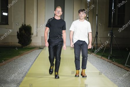 Stock Image of Paul Andrew and Guillaume Meilland on the catwalk at the Salvatore Ferragamo Fashion show in Milan, Spring Summer 2021, Ready to Wear Fashion Week