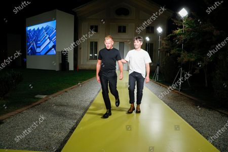 Stock Picture of Paul Andrew and Guillaume Meilland on the catwalk at the Salvatore Ferragamo Fashion show in Milan, Spring Summer 2021, Ready to Wear Fashion Week