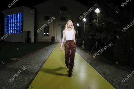 Model on the catwalk at the Salvatore Ferragamo Fashion show in Milan, Spring Summer 2021, Ready to Wear Fashion Week