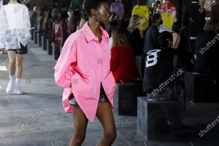 Model on the catwalk at the Valentino Fashion show in Milan, Spring Summer 2021, Ready to Wear Fashion WeekCollection designed by Pierpaolo Piccioli