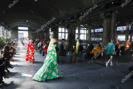 Models on the catwalk at the Valentino Fashion show in Milan, Spring Summer 2021, Ready to Wear Fashion WeekCollection designed by Pierpaolo Piccioli