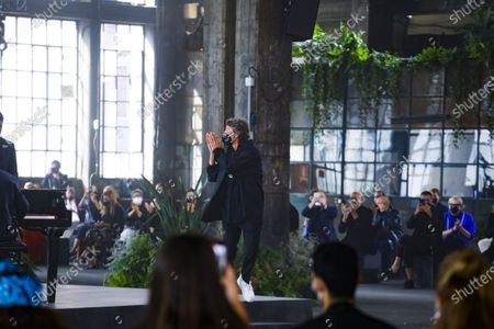 Pierpaolo Piccioli on the catwalk at the Valentino Fashion show in Milan, Spring Summer 2021, Ready to Wear Fashion Week