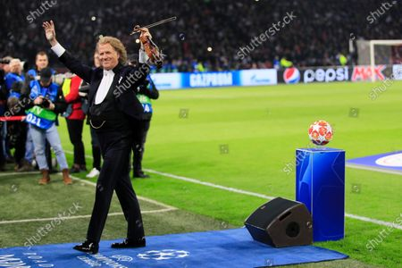 Andre Rieu performs prior to the first leg, round of sixteen, Champions League soccer match between Ajax and Real Madrid at the Johan Cruyff ArenA in Amsterdam, Netherlands