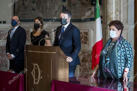 (L-R) Davide Faraone, Maria Elena Boschi,  Matteo Renzi and Teresa Bellanova of the Italia Viva (Italy Alive, IV) party during a press conference after meeting with premier-designate Mario Draghi at the Lower House in Rome, Italy, 05 February 2021. Designated prime minister Draghi is holding a second day of consultations with Italian parties for the formation of a new government after the previous coalition collapsed.