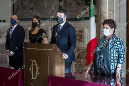(L-R) Davide Faraone, Maria Elena Boschi, Matteo Renzi and Teresa Bellanova, of Italia Viva (Italy Alive, IV) party during a press conference after meeting with premier-designate Mario Draghi at the Lower House in Rome, Italy, 05 February 2021. Designated prime minister Draghi is holding a second day of consultations with Italian parties for the formation of a new government after the previous coalition collapsed.