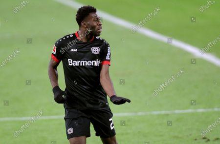 Leverkusen's Timothy Fosu-Mensah gestures during the German Bundesliga soccer match between RB Leipzig and Bayer 04 Leverkusen in Leipzig, Germany
