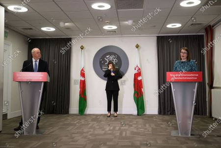 Wales Education Minister Kirsty Williams and Deputy Chief Medical Officer Dr Chris Jones speak to the media during the Welsh Government COVID-19 briefing.