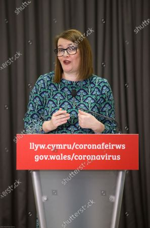 Stock Picture of Wales Education Minister Kirsty Williams speaks to the media during the Welsh Government COVID-19 briefing.