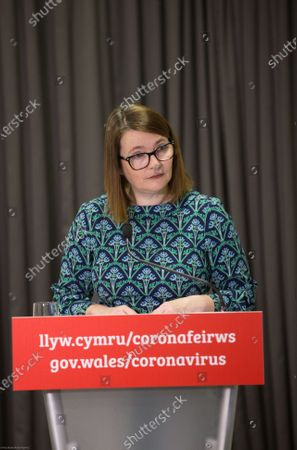 Stock Photo of Wales Education Minister Kirsty Williams speaks to the media during the Welsh Government COVID-19 briefing.