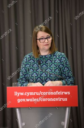 Wales Education Minister Kirsty Williams speaks to the media during the Welsh Government COVID-19 briefing.