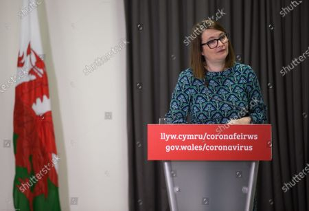 Stock Image of Wales Education Minister Kirsty Williams speaks to the media during the Welsh Government COVID-19 briefing.
