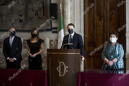 (L-R) Davide Faraone, Maria Elena Boschi, Matteo Renzi and Teresa Bellanova, of Italia Viva, during a press conference after meeting with premier-designate Mario Draghi at the Lower House in Rome, Italy, 05 February 2021. Designated prime minister Draghi is holding a second day of consultations with Italian parties for the formation of a new government after the previous coalition collapsed.