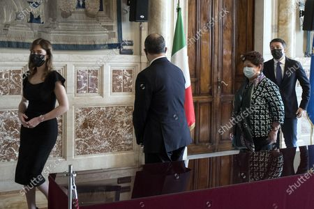 (L-R) Maria Elena Boschi, Davide Faraone, Teresa Bellanova and Matteo Renzi of Italia Viva during a press conference after meeting with premier-designate Mario Draghi at the Lower House in Rome, Italy, 05 February 2021. Designated prime minister Draghi is holding a second day of consultations with Italian parties for the formation of a new government after the previous coalition collapsed.