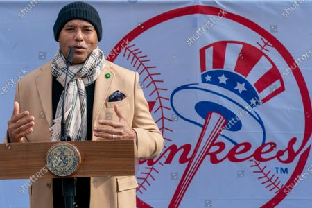 Stock Image of Hall of Fame inductee New York Yankees former pitcher Mariano Rivera speaks to reporters at a COVID-19 vaccination site at Yankee Stadium, in the Bronx borough of New York. Yankee Stadium opened as a COVID-19 vaccination site Friday, drawing lines of people from surrounding neighborhoods in the Bronx. The mega-site is being restricted to Bronx residents as a way to boost vaccination rates in the New York City borough with the highest percentage of positive coronavirus test results