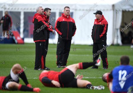 Wayne Pivac, Stephen Jones, Gethin Jenkins and Neil Jenkins during training.