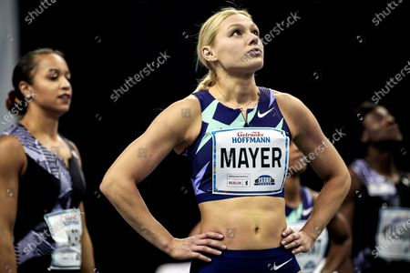 Stock Image of Lisa Mayer of Germany reacts after the women's 60m heats at the ISTAF Indoor international athletics meeting in Berlin, Germany, 05 February 2021.