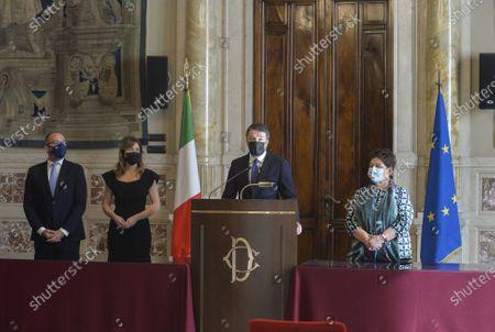 Government crisis Draghi consultations for the formation of the new governmen. Delegation of Italia Viva with Davide Faraone Maria Elena Boschi Matteo Renzi Teresa Bellanova