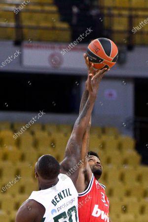 Octavius Ellis (R) of Olympiacos Piraeus competes with Ben Bentil of Panathinaikos during the Euroleague Basketball match between Olympiacos Piraeus and Panathinaikos OPAP Athens at the SEF Stadium in Piraeus, Greece, 05 February 2021.