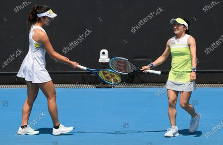 Japan's Shuko Aoyama and Ena Shibahara, left, against Nicole Melichar of the United States and Demi Schuurs of the Netherlands during their doubles match at a tuneup event ahead of the Australian Open tennis championships in Melbourne, Australia