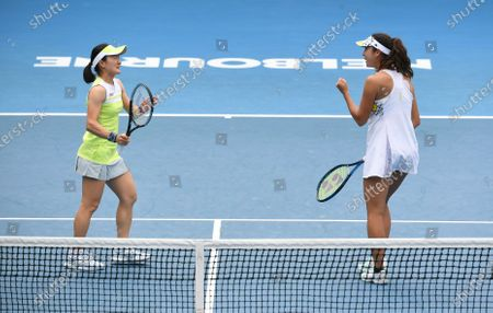 Stock Picture of Ena Shibahara (R) and Shuko Aoyama (L) of Japan celebrate during their Yarra Valley Classic - WTA 500 semi-final doubles match against Nicole Melichar of the USA and Demi Schuurs of the Netherlands at Melbourne Park in Melbourne, Australia, 06 February 2021.