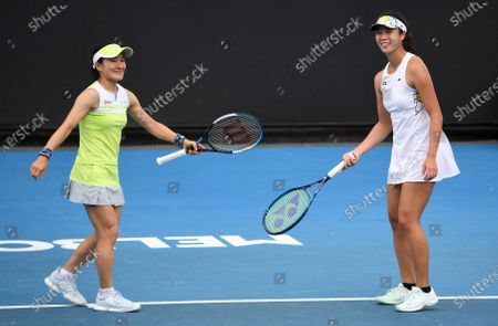 Ena Shibahara (R) and Shuko Aoyama (L) of Japan celebrate during their Yarra Valley Classic - WTA 500 semi-final doubles match against Nicole Melichar of the USA and Demi Schuurs of the Netherlands at Melbourne Park in Melbourne, Australia, 06 February 2021.